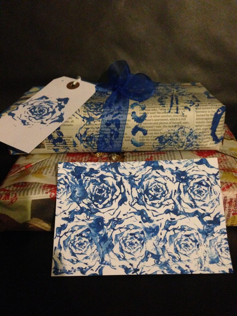 Home printed gift-wrap and gift card using little gem lettuce